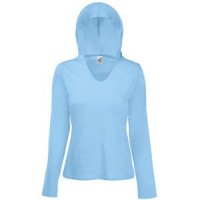 "Футболка ""Lady-Fit Lightweight Hooded T"", небесно-голубой_L, 100% х/б, 135 г/м2"